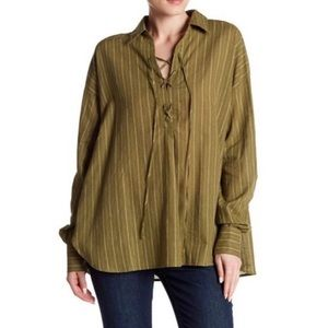 Free People Striped Linen Blend Blouse